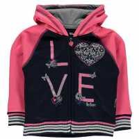 Lee Cooper Glitzy Zipped Sweater Infant Girls Navy/Pink Детски суитчъри и блузи с качулки