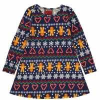 Star Рокля За Момиченца Christmas Jersey Dress Infant Girls  Коледни пуловери