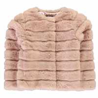 Firetrap Пухено Палто Малки Момичета Textured Fur Coat Infant Girls ROSE SMOKE Детски якета и палта