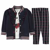 Crafted 3 Piece Jogger Set Infant Girls Navy Check Детски полар