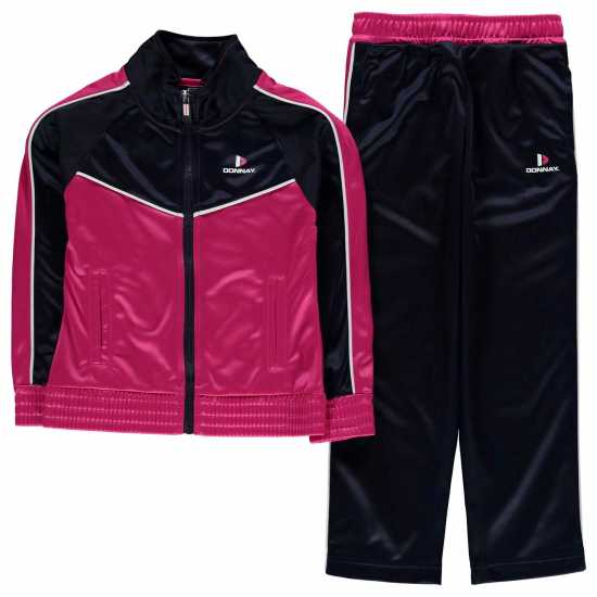 Donnay Poly T Suit In91 HotPink/Wht/Nvy Детски спортни екипи