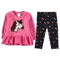 Crafted Essentials Бебешки Комплект Момичета 2 Piece Sweater Dress Set Baby Girls Navy-Unicorn Бебешки дрехи