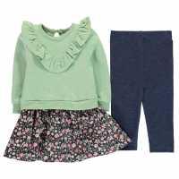 Crafted Mini 2 Piece Dress And Leggings Girls Infant Pale Green Бебешки дрехи