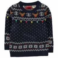 Star Пуловер За Малки Момчета Christmas Knitted Jumper Infant Boys Navy Fairisle Коледни пуловери