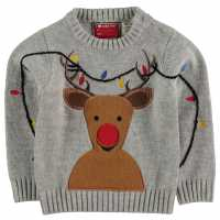Star Christmas Knit Infant Boys GreyM - Rudolph Коледни пуловери