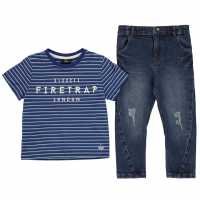 Firetrap 2 Piece Jeans Set Infant Boys Mid Wash Детски дънки