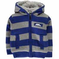 No Fear Boys Striped Zip Up Hoody Junior Grey Marl/Blue Детски плетени пуловери и жилетки