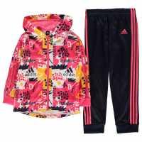 Adidas Shiny Full Zip Tracksuit Boys Pink/Navy Детски полар