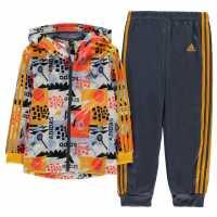 Adidas Shiny Full Zip Tracksuit Boys Multi/Navy Детски полар