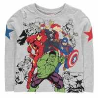 Character Тениска Long Sleeve T Shirt Boys Marvel Детски тениски и фланелки