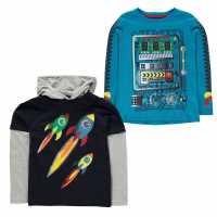 Crafted Тениска Two Pack T Shirts Infant Boys Blue Robot Детски тениски и фланелки