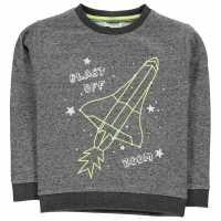Crafted Пуловер Малки Момчета Designed Crew Sweater Infant Boys Charcoal Rocket Детски горнища и пуловери