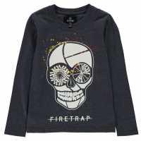 Firetrap Блуза Малки Момчета Long Sleeve T Shirt Infant Boys Navy Skull Детски тениски и фланелки