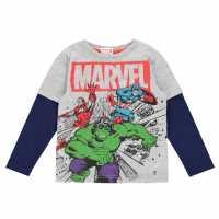 Character Тениска Момчета Long Sleeve T Shirt Junior Boys Marvel Детски тениски и фланелки