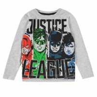 Character Тениска Момчета Long Sleeve T Shirt Junior Boys Justice League Детски тениски и фланелки