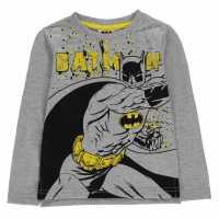 Character Тениска Момчета Long Sleeve T Shirt Junior Boys Batman Детски тениски и фланелки