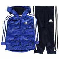 Adidas 3 Stripe Poly Tracksuit Infant Boys BlueGraphic/Nvy Детски спортни екипи