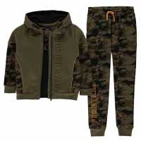 Firetrap 3 Piece Jogging Set Infant Boys Black Camo Детски полар