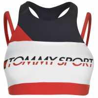 Tommy Sport Tommy Strap Mid Sports Bra True Red Спортни сутиени