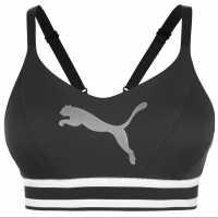 Puma Дамски Спортен Сутиен Logo Sports Bra Ladies Black/White Спортни сутиени