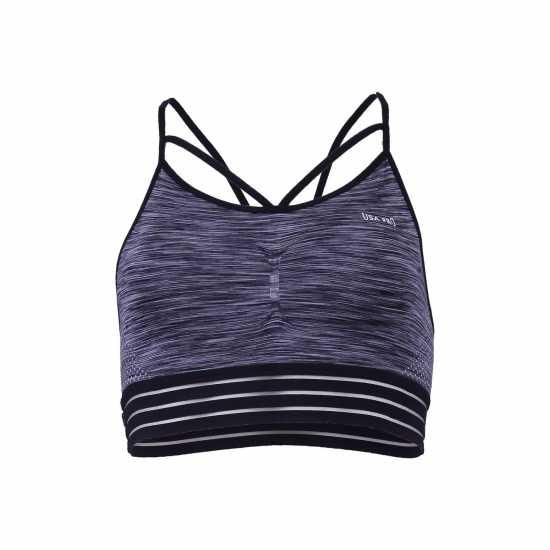 Workwear Къс Дамски Потник Usa Pro Padded Seamless Crop Top Ladies Charcoal Спортни сутиени