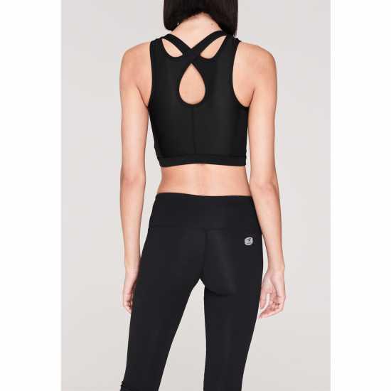 La Gear Дамски Спортен Сутиен Cropped Sports Bra Ladies Black Спортни сутиени