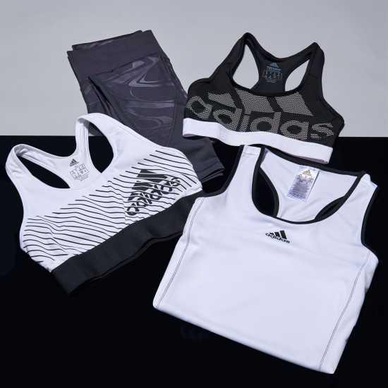 Adidas Дамски Спортен Сутиен Alphaskin Sports Bra Ladies Black/White Спортни сутиени