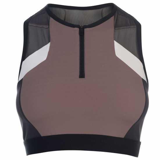 Reebok Дамски Спортен Сутиен Colour Block Cropped Sports Bra Ladies Almost Grey Спортни сутиени