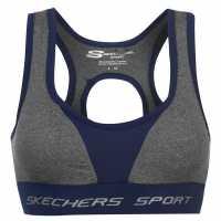Skechers Дамски Спортен Сутиен Racer Back Sports Bra Ladies Charcoal Marl Спортни сутиени