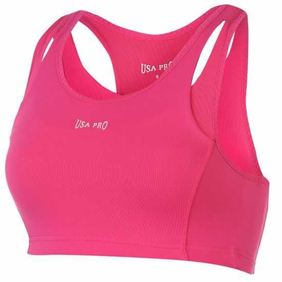 Workwear Спортен Сутиен За Средно Натоварване Usa Pro Medium Sports Bra Pink Спортни сутиени