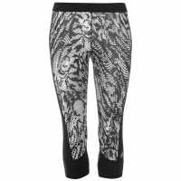 Adidas Tech Fit All Over Pattern Three Quarter Tights Womens White/Black Дамски клинове за фитнес