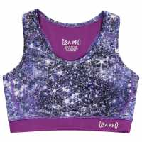 Workwear Usa Pro Fitness Crop Top Junior Girls Sparkle Print Дамски спортни сутиени