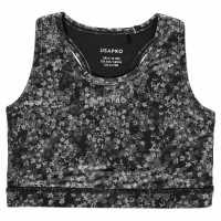 Workwear Usa Pro Fitness Crop Top Junior Girls Mono Floral Спортни сутиени