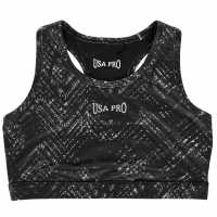 Workwear Usa Pro Fitness Crop Top Junior Girls Mono Chevron Детски дрехи за бягане