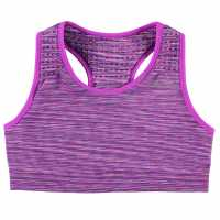 Workwear Usa Pro Seamless Crop Top Junior Girls Purple Space Дамски спортни сутиени