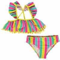 Crafted Екип Невръстни Момиченца Swimsuit Infant Girls RainBow Frill Бански за момичета