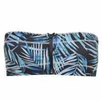 Soulcal Bandeau Bikini Top Black Palm Prnt Дамски бански
