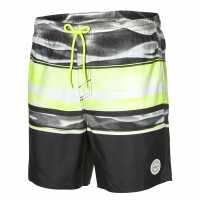 Oneill Мъжки Бермуди Long Beach Board Shorts Mens Black AOP/Yello Мъжки къси панталони