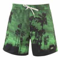 Oneill Мъжки Плувни Шорти Bondey Swim Shorts Mens Green AOP Мъжко облекло за едри хора