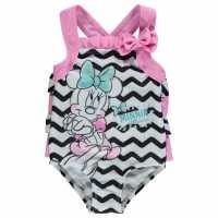 Character Бебешко Костюмче За Момиче Swimsuit Baby Girls Minnie Chevron Детски бански и бикини