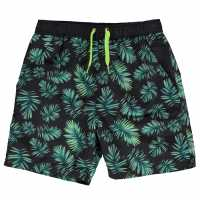 Crafted Essentials Board Shorts Childrens Green Palm Детско плувно облекло