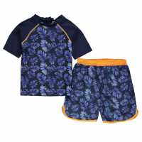 Crafted Essentials 2 Piece Sun Safe Suit Child Boys Blue Palm Детско плувно облекло