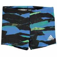 Adidas Боксерки Момчета All Over Print Swimming Boxers Junior Boys Black/Yellow Плувни дрехи за момчета