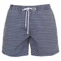 Verte Vallee Print Swim Shorts Bleu Cabanes Мъжко облекло за едри хора