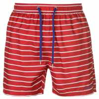 Pierre Cardin Мъжки Шорти Stripe Swimshorts Mens Red/White/Royal Мъжки плувни шорти и клинове
