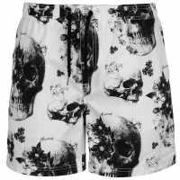 Firetrap Мъжки Плувни Шорти Skull Sub Swim Shorts Mens White Мъжки плувни шорти и клинове