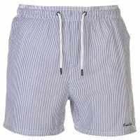 Pierre Cardin Мъжки Плувни Шорти Seersucker Swim Shorts Mens Navy/White Мъжки плувни шорти и клинове