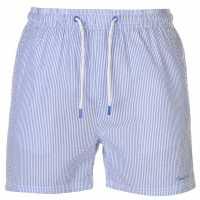 Pierre Cardin Мъжки Плувни Шорти Seersucker Swim Shorts Mens Royal/White Мъжки плувни шорти и клинове