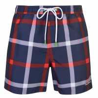 Pierre Cardin Мъжки Плувни Шорти Checked Swim Shorts Mens Navy/Red Check Мъжки плувни шорти и клинове