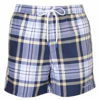 Pierre Cardin Мъжки Плувни Шорти Checked Swim Shorts Mens Navy/Lemon Chck Мъжки плувни шорти и клинове